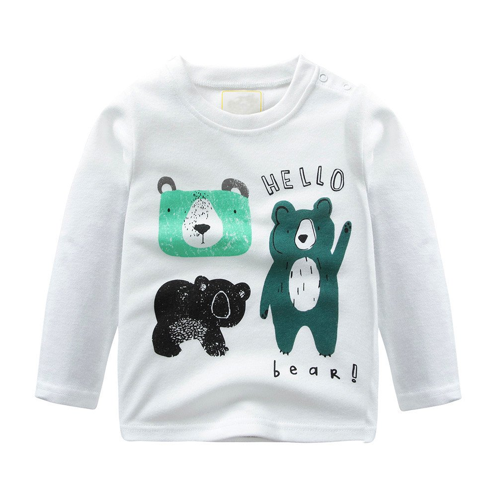 Lurryly Baby Girls Boys Long Sleeve Clothes Cartoon Tops Shirt Clothing Kids Outfit 1-6T