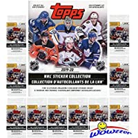 2019/20 Topps NHL Hockey Stickers COLLECTORS PACKAGE with 60 Brand New MINT Stickers & HUGE 50 Page Collectors Album! Look for Stickers of all your Favorite NHL Hockey Superstars & Rookies! WOWZZER!