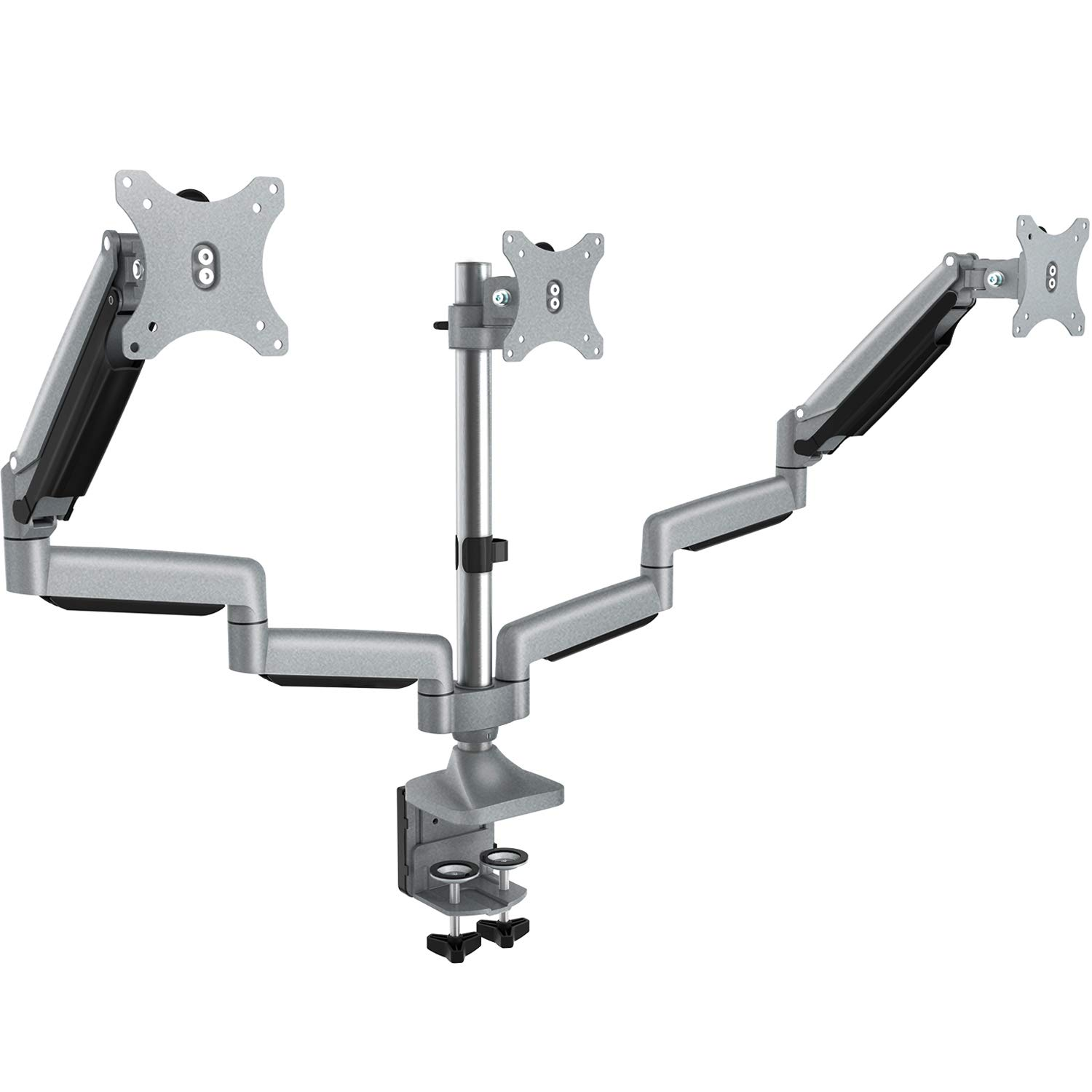 Triple Monitor Stand - Adjustable 3 Arm Gas Spring Computer Desk Mount, Aluminum Full Motion Articulating with Clamp, Grommet Mounting Base for 13-32 Inch LED LCD Displays