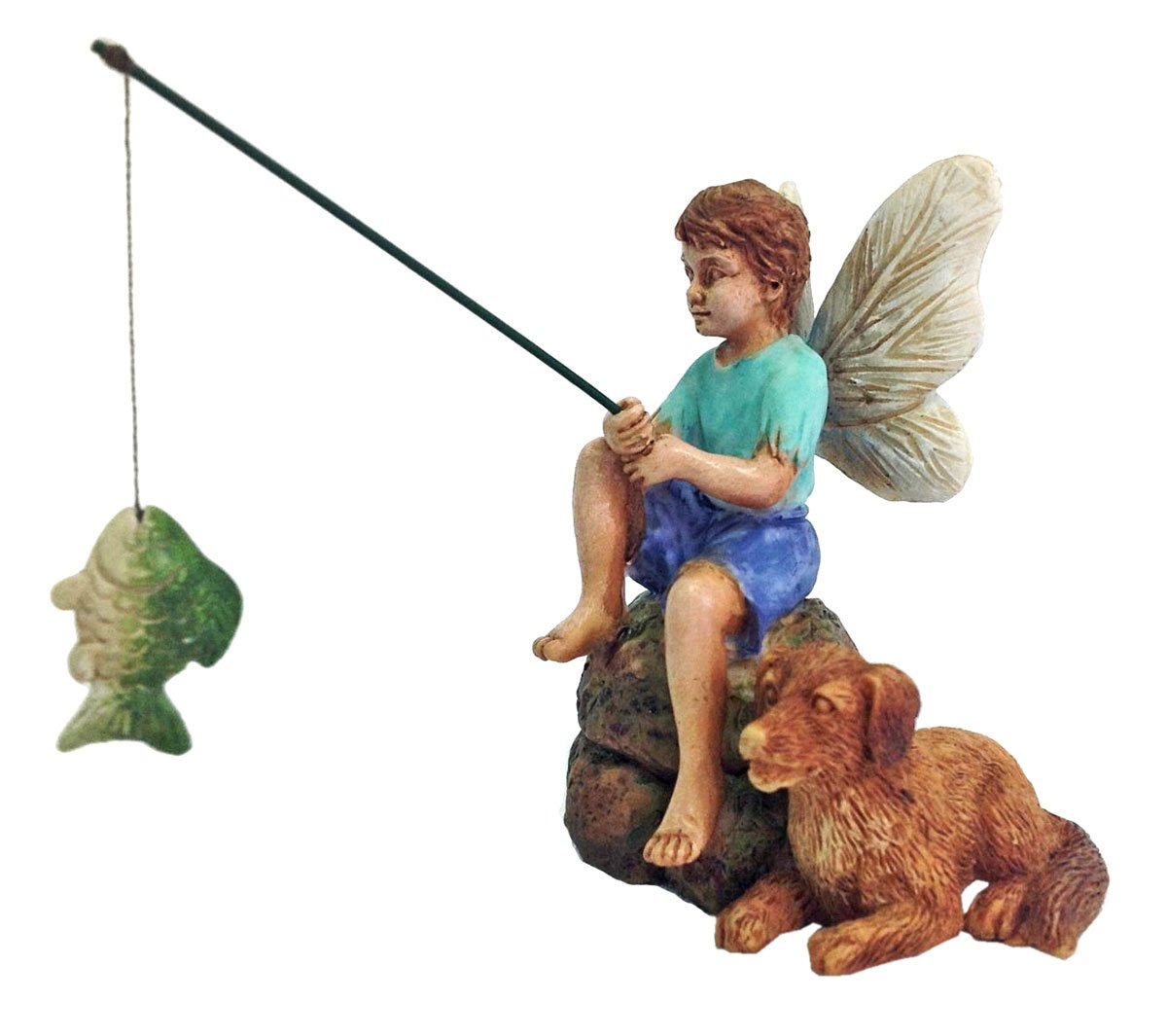 """Gone Fishin'"" Miniature Fairy Garden Boy Fishing w/ Dog Figurine"