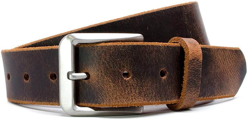 Genuine Top Grain Leather Belt with Nickel Free Titanium Buckle Pisgah Casual Titanium Belt Nickel Smart Mt