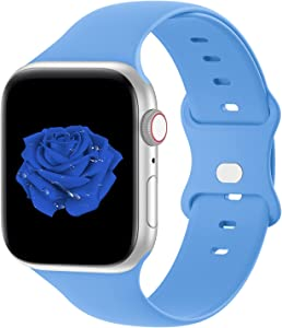 Bandiction Compatible with Apple Watch Series 3 38mm Series 5 40mm iWatch Bands 42mm 44mm, Soft Silicone Sport Replacement Strap Compatible for iWatch Series 6 SE 5 4 3 2 1, Surf Blue, 38/40mm