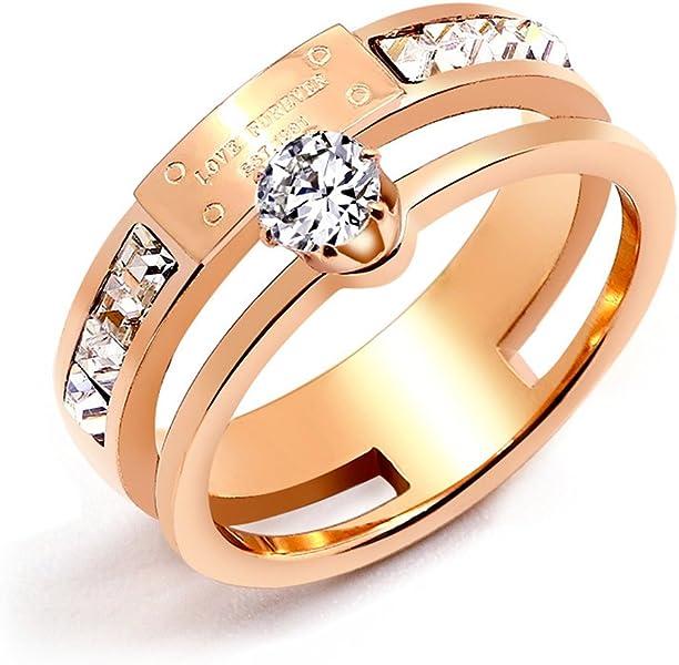 Amazon Com Qindishijia Love Double Zircon Ring Rose Gold Titanium
