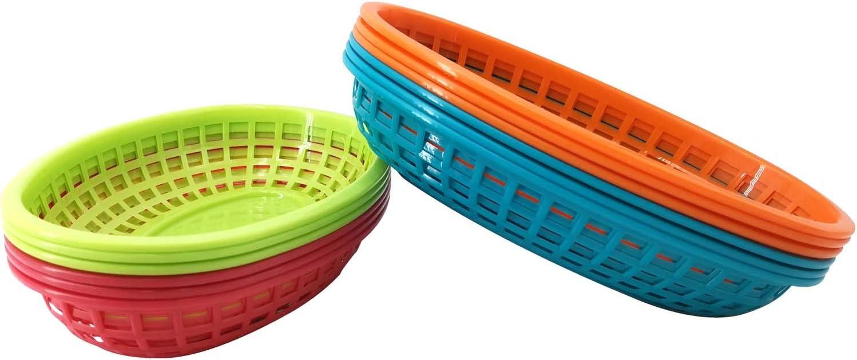Plastic bread Baskets Serving Restaurant Fast Food Sandwiches Hamburgers Set of 12,Dishwasher Safe