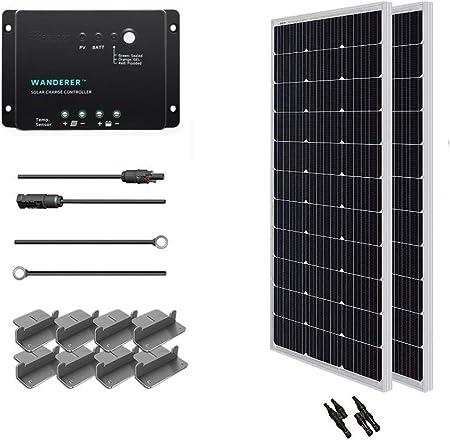 side facing renogy 200 watt 12 volt monocrystalline solar starter kit