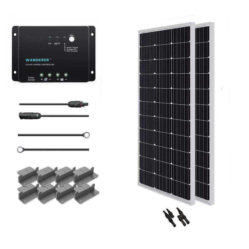 Renogy 200 Watt 12 Volt Monocrystalline Solar Starter Kit with Wanderer by Renogy