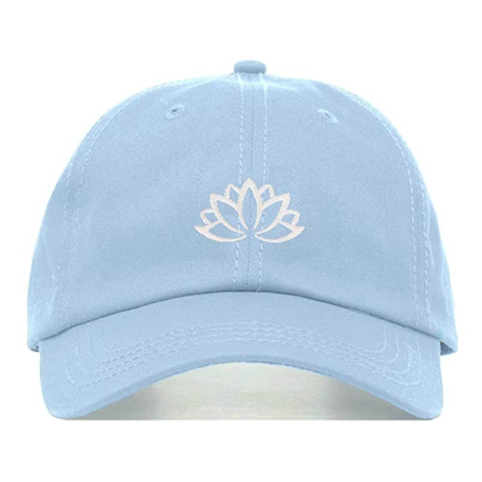 f3c5eb16 Lotus Flower Dad Hat, Embroidered Baseball Cap, 100% Cotton, Unstructured  Low Profile
