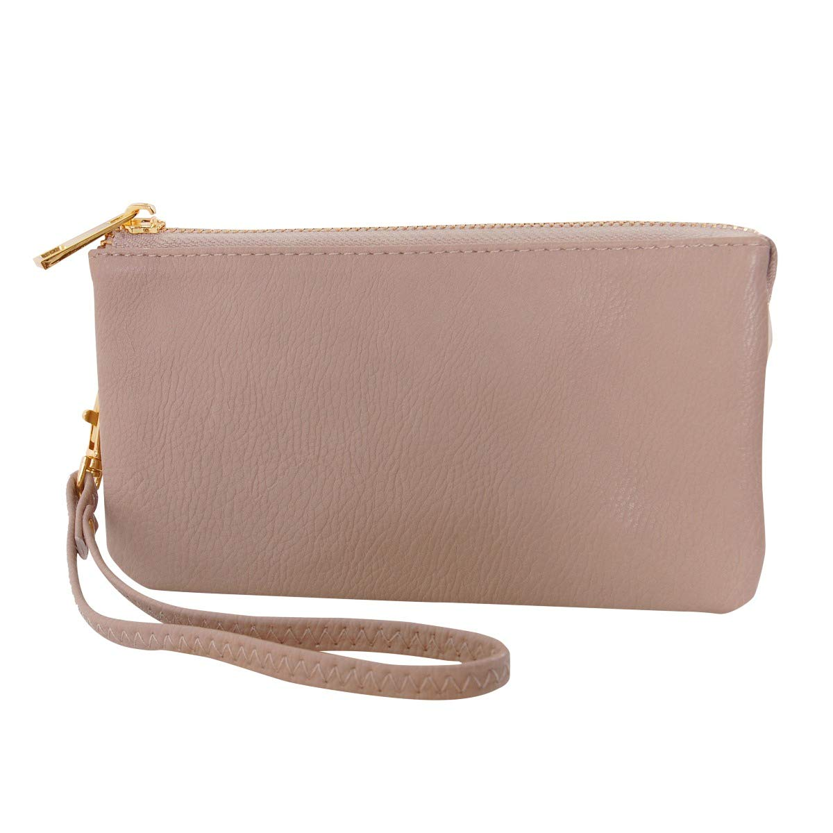 Humble Chic Vegan Leather Wristlet Wallet Clutch Bag - Small Phone Purse Handbag, Tan, Nude, Beige by Humble Chic NY