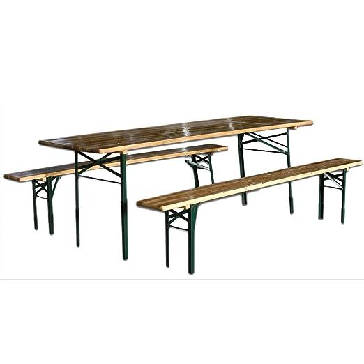 Tavolo E Panche In Legno Da Giardino.Sti Set Da Birreria Picnic Tavolo 2 Panche Legno Richiudibile