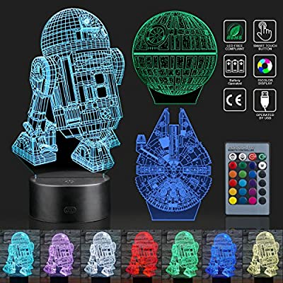 Hohoto 3D Illusion Lamp, Star Wars Night Light with 3 Patterns and 7 Changing, Star Wars Toys with Remote Or Touching is A for Kids and Star Wars Fans