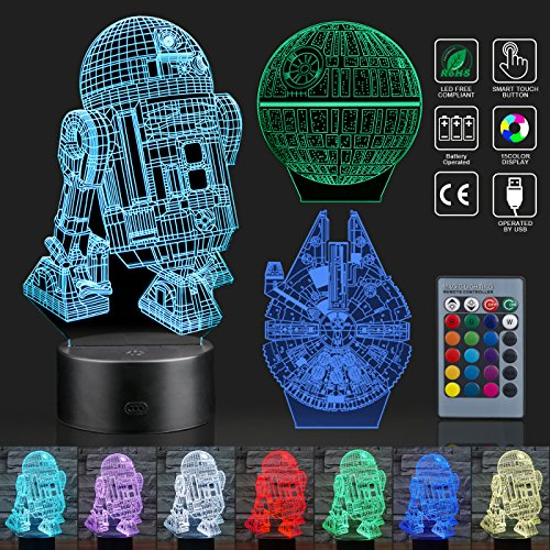 Hohoto 3D Illusion Lamp, Star Wars Night Light with 3 Patterns and 7 Changing, Star Wars Toys with Remote Or Touching is A for Kids and Star Wars Fans (STL) -