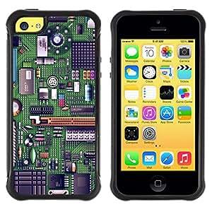 "Pulsar iFace Series Tpu silicona Carcasa Funda Case para Apple iPhone 5C , Código Chip arte Tecnología Verde"""
