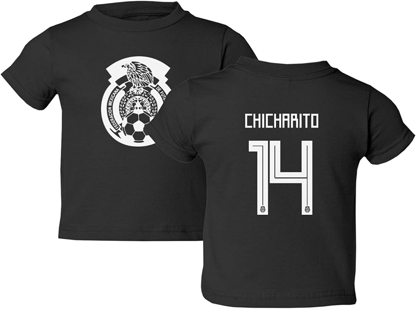 Tcamp Mexico 2018 National Soccer #14 Javier CHICHARITO World Championship Little Kids Girls Boys Toddler T-Shirt Black, 4T