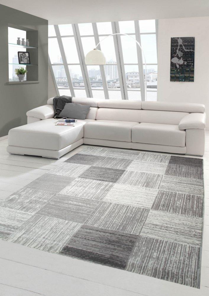 Designer und Moderner Teppich Wohnzimmerteppich mit Karomuster in Beige Grau Größe 160x230 cm