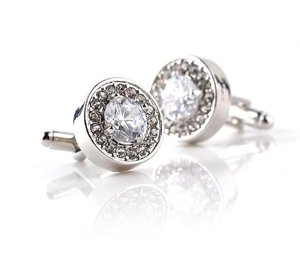 Hosaire Men's Women's Fashion Silver Cufflinks Delicate Cuff Link With White Rhinestones