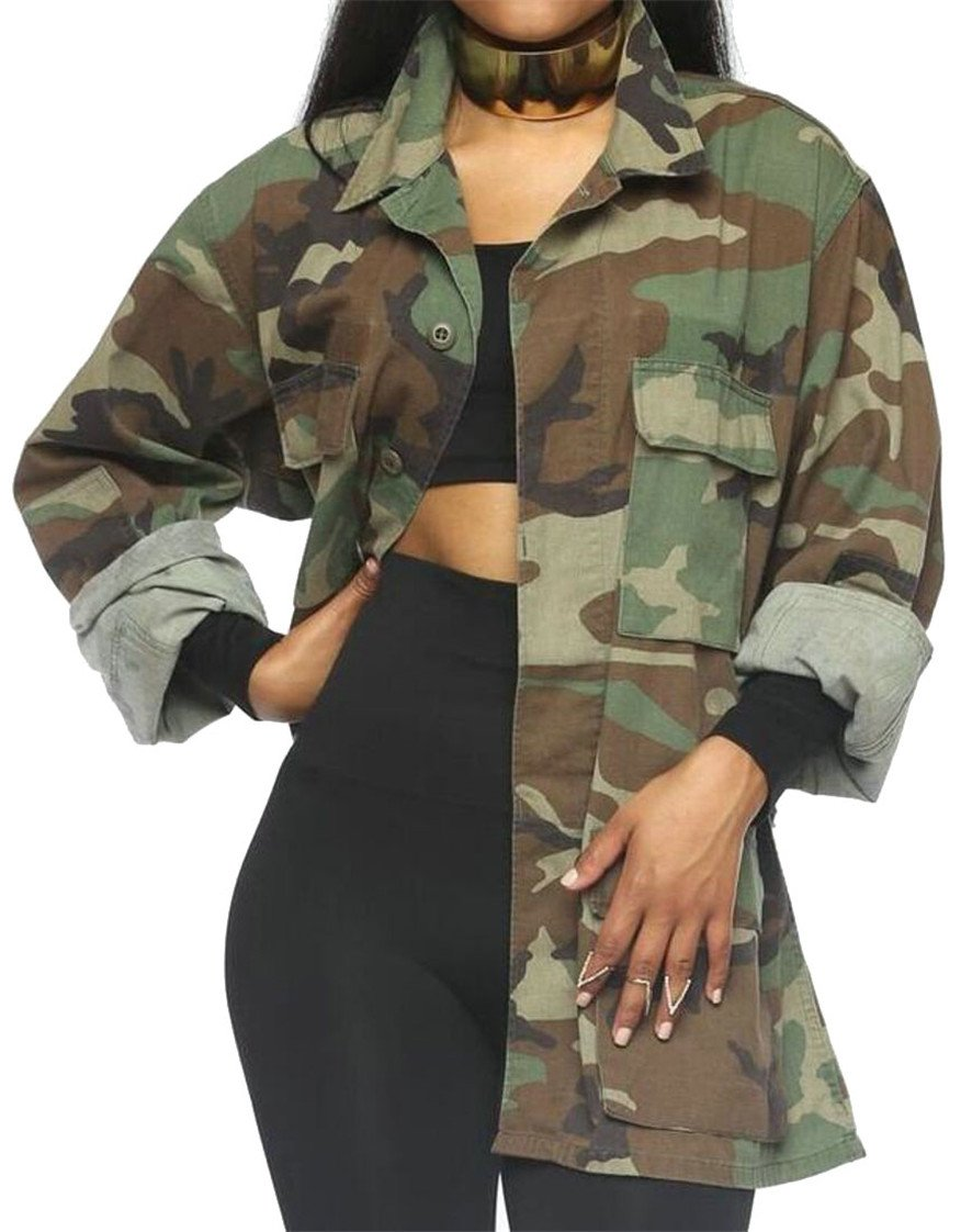 Alion Womens Casual Stand Collar Long Sleeve Camouflage Print Jacket Coat 1 M
