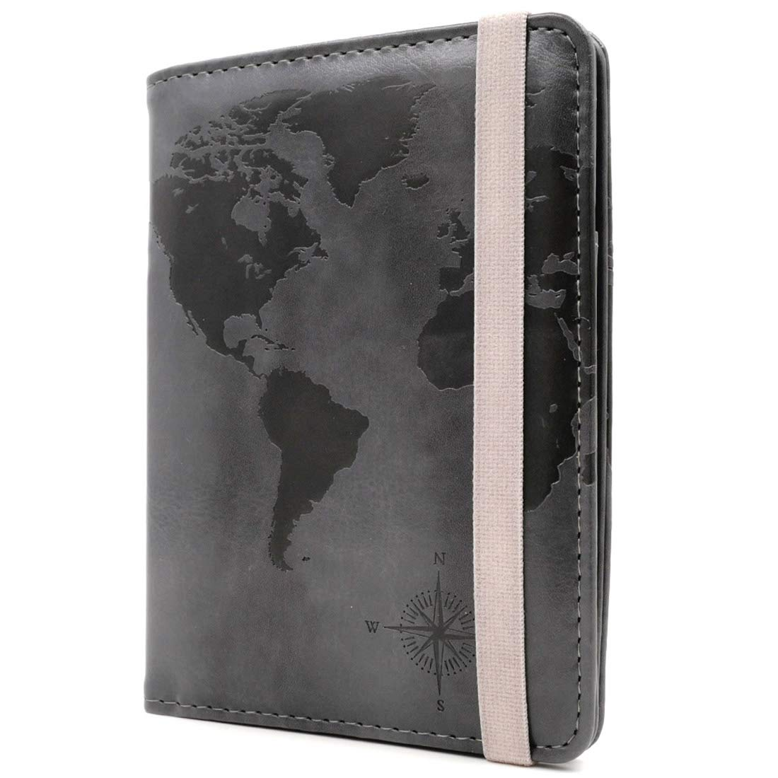 80921792e07f Kandouren RFID Blocking Passport Holder Cover Case,Travel Luggage Passport  Wallet Made with Gray World Map PU Leather for Men & Women