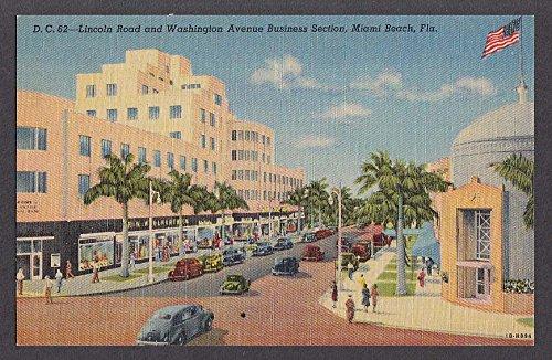 Lincoln Road & Washington Avenue Business Section Miami Beach FL postcard - Fl Miami Beach Road Lincoln
