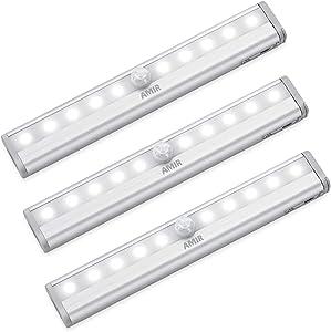 AMIR Upgraded Motion Sensor Lights, 10-LED DIY Stick-on Anywhere Portable Wireless Closet Light, Safe Lights for Hallway, Stairway, Bedroom (White, 3 Pack)