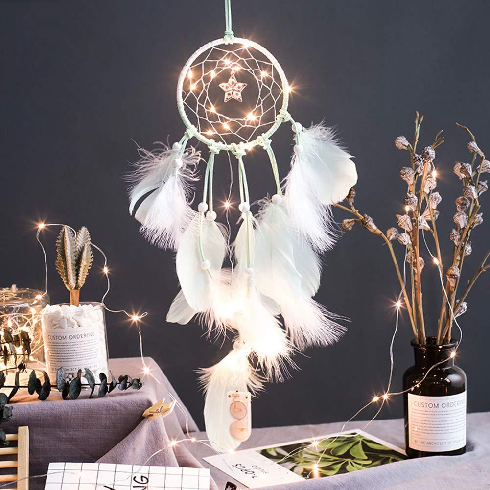 Atrapasueños de plumas led móvil luces de hadas con pilas colgando adornos rosa sumergido plumas de brillo decoraciones bohemias de la boda, boho chic, decoración del cuarto de niños