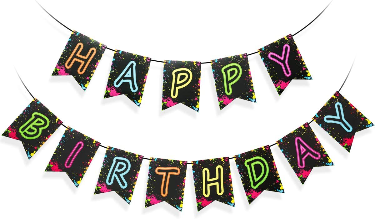 Glow Party Happy Birthday Banner Decoration(Already Assembled), Glow Party Decorations, Birthday Party Letter Banner Supplies