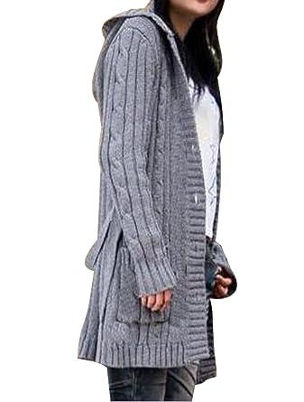 online retailer bba30 ee1af BININBOX® Damen Strickjacke lang mit Kapuze Grobstrick ...