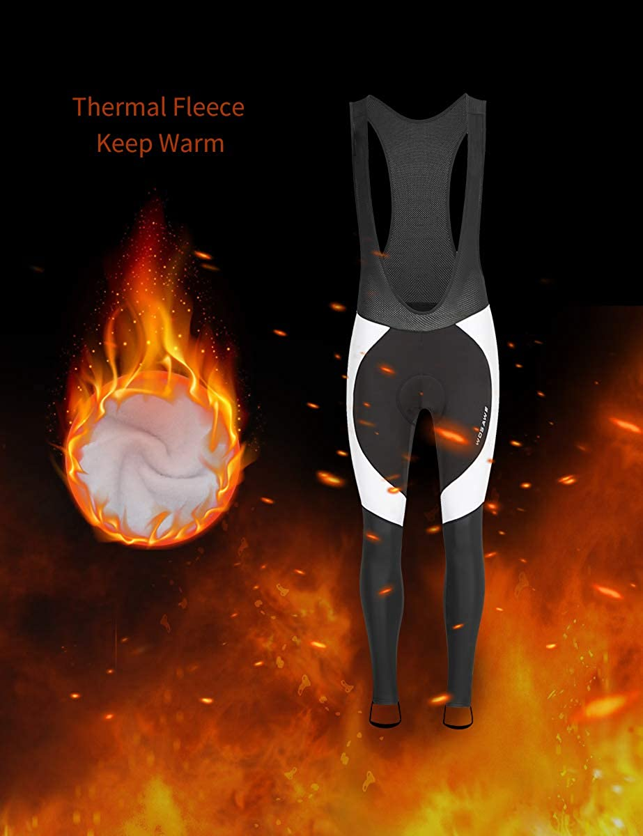 WOSAWE Mens Thermal Bib Pants Winter Cycling Stirrup Compression Leggings 4D Padded Bike Tights