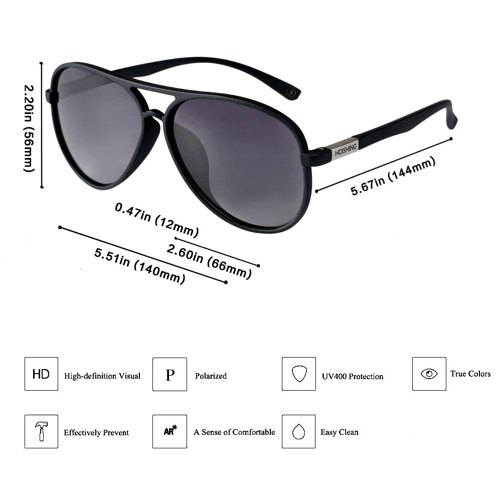 dafd2eb93e Amazon.com  Hoishing Polarized Retro Aviator Sunglasses for Women Men UV  400 Protection Plastic Frame with Metal Dark Lens Round Lenses  Clothing