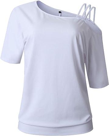 Manga Corta Asimétrico Un Hombro Ladder con Aberturas Detalle de Tirantes T-Shirt Camiseta Playera tee Blusón Blusa Camisa Top: Amazon.es: Ropa y accesorios