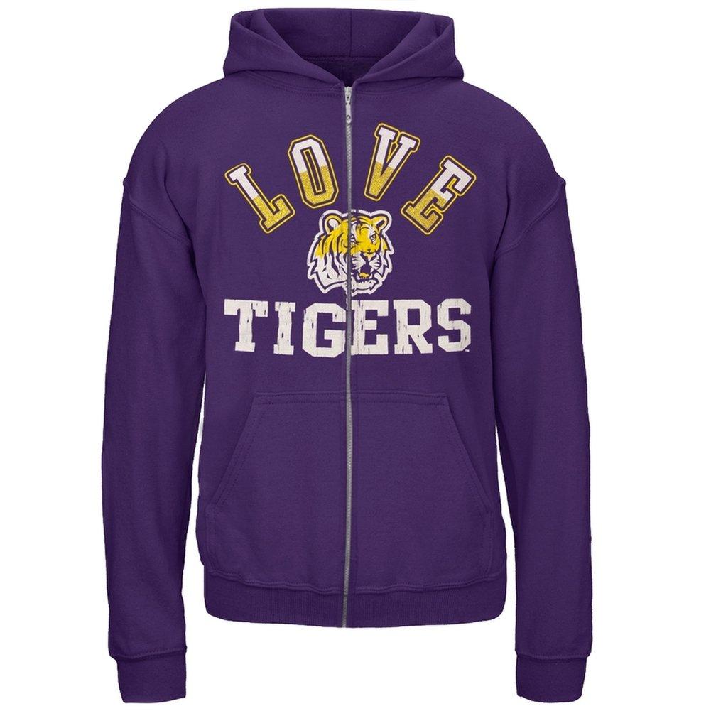 LSU Tigers - Glitter Love Girls Youth Zip Hoodie 12 Purple