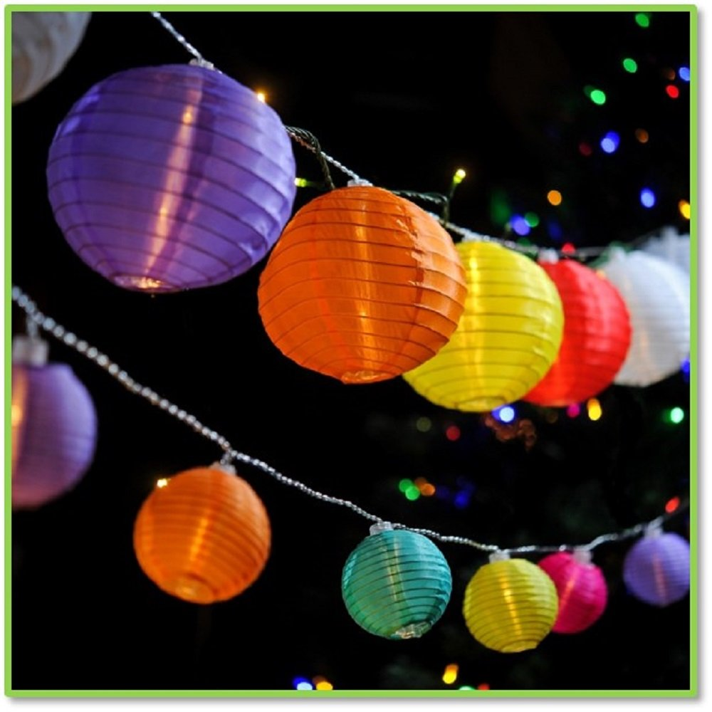 Chinese Globe Shaped Paper Lanterns with LEDs Bulbs Outdoor Garden Patio 20 Bulb Strand Oriental Style Round Paper Lantern Lights (Multi-colored)