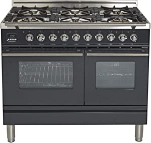 Ilve UPDW1006DMPM Pro Series 40 Inch Dual Fuel Convection Freestanding Range, 6 Sealed Burners, Double Ovens, 3.88 cu. ft. Total Oven Capacity in Glossy Black (Natural Gas)