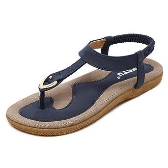 Sandale Zehentrenner Sandaletten mit Strasssteinen Damen in 5 Farben und 6 Größen (36, Blau)
