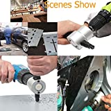 Multipurpose Double Head Sheet Metal Nibbler Saw Cutter by OSOF Cutting Tool Electric Power Drill Attachment Fits Iron, Stainless Steel, Aluminum, Plastic, Plywood Plate and More