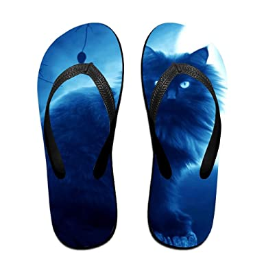 Couple Flip Flops Darknight Cat Print Chic Sandals Slipper Rubber Non-Slip Beach Thong Slippers