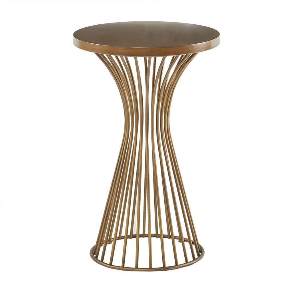 Round Top Modern Mid-Century Hour Glass Retro Design 30 High Wire Frame Pedestal Base Bronze INK+IVY IIF17-0082 Mercer Accent Table