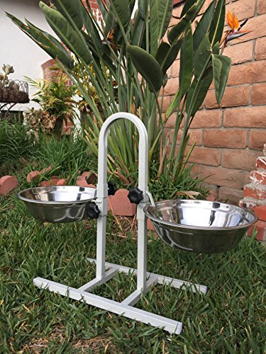 (2-Quart/3-Quart/5-Quart Adjustable Double Wrought Iron Chew Free Stainless Steel Dog Cat Pet Diner Food Water Bowls (5-Quart)