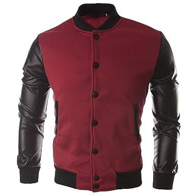 Guiran Herren Varsity Baseball Jacken University College Lederärmel Retro Outwear Mäntel Freizeitjacke