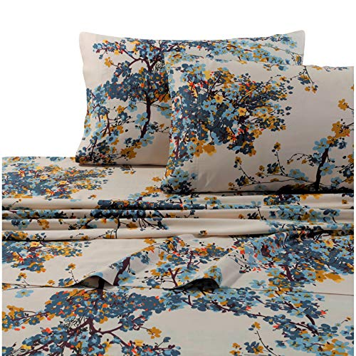 Tribeca Living Solid or Printed 300 Thread Count Cotton Sateen Deep Pocket Sheet Set Casablanca Multi King