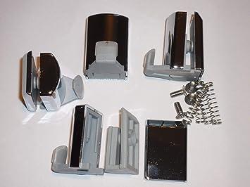 Juego de 4 ganchos en la parte inferior para mampara de ducha de acabado cromado/soportes para AM17-4: Amazon.es: Bricolaje y herramientas