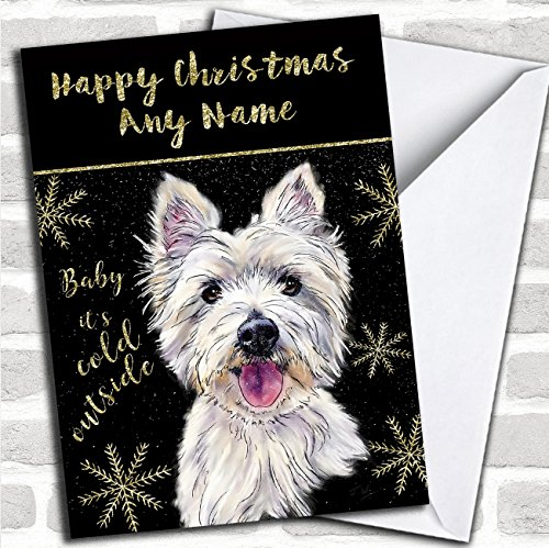 (Cold Outside Snow Dog West Highland Terrier Personalized Christmas Card)