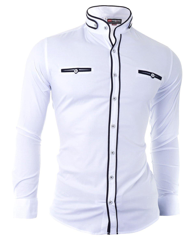D& R Fashion Camisa hombres de manera con corte de moda y el abuelo del collar de fijación decorativo