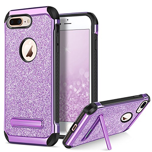 BENTOBEN Phone Case for Apple iPhone 8 Plus Protective Cell Phone Cases Glitter Bling Sparkle Cases 2 in 1 Heavy Duty Hard PC Soft TPU Shockproof Phone Cover with Kickstand for Girls, Women, Purple