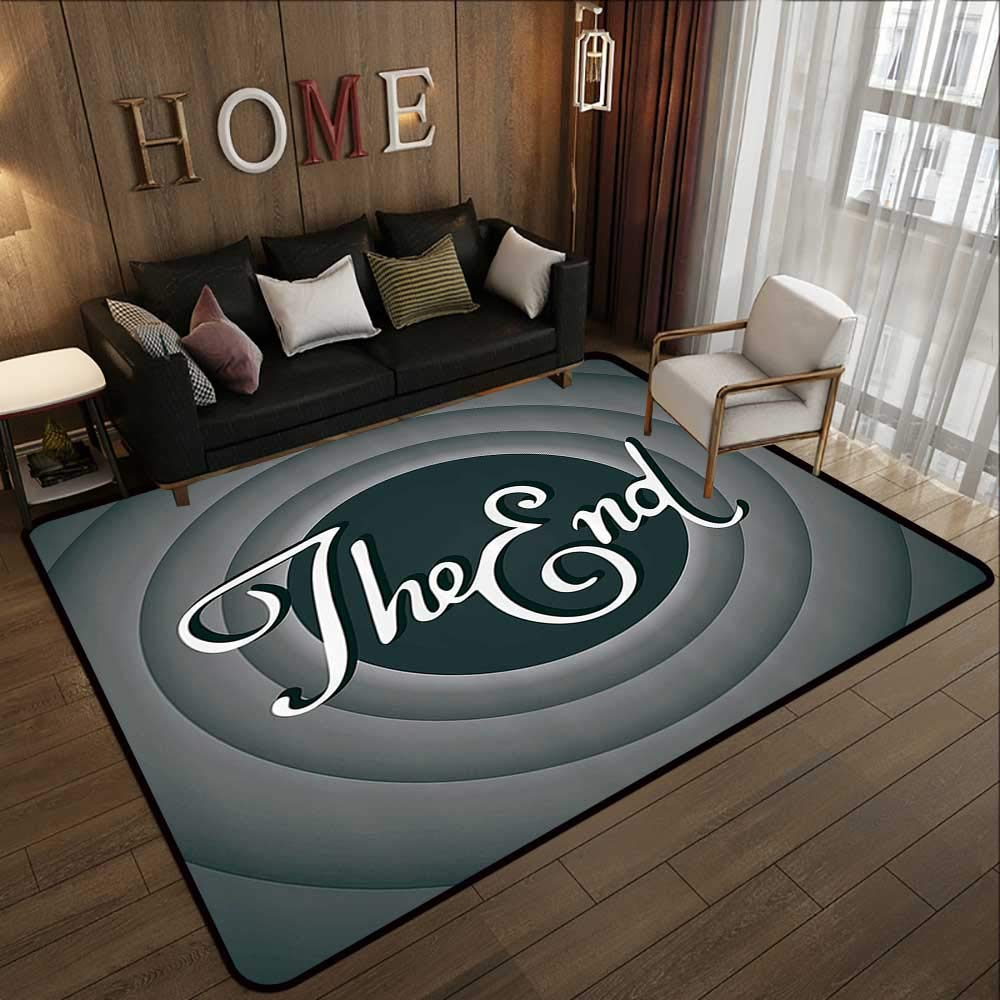 "Throw Rugs,1950s Decor Collection,Vintage Movie Ending Screen Camera Hollywood Industry Historic Entertainment Film Television Imag 63""x 94"" Office Chair Floor Mat Foot Pad"
