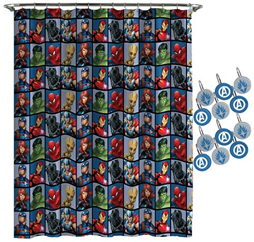 Jay Franco Marvel Avengers Team Shower Curtain & 12-Piece Hook Set & Easy Use (Official Marvel Product)