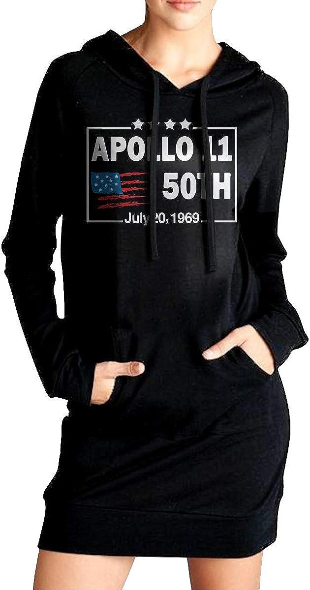 Womens Apollo 11 50th Anniversary Long Fleece Sweatshirt Pockets Pullover Hoodie Dress