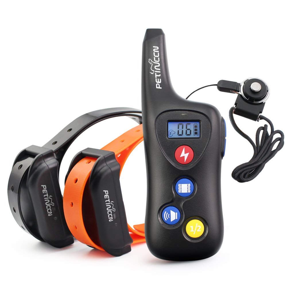 PETINCCN P690 Dog Shock Collar 2000 ft Remote Dog Training Collar 100% Waterproof and Rechargeable Pet trainer collar with 16 Levels Beep Vibrating Electric shock collar for Dogs 2 Collars