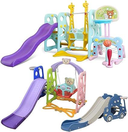 Playground Slipping Slide Climber for Outdoors Use Freestanding Kid Slide Plastic Baby Slide First Slide Sturdy Folding Kids Slide with Basketball Hoop Dongfans Toddler Climber Slide and Swing Set