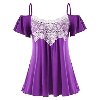 7dab348b6a589 Amazon.com  UONQD Woman Women Casual Summer Lace Off Shoulder T-Shirt Short  Sleeve Tops Blouse  Clothing