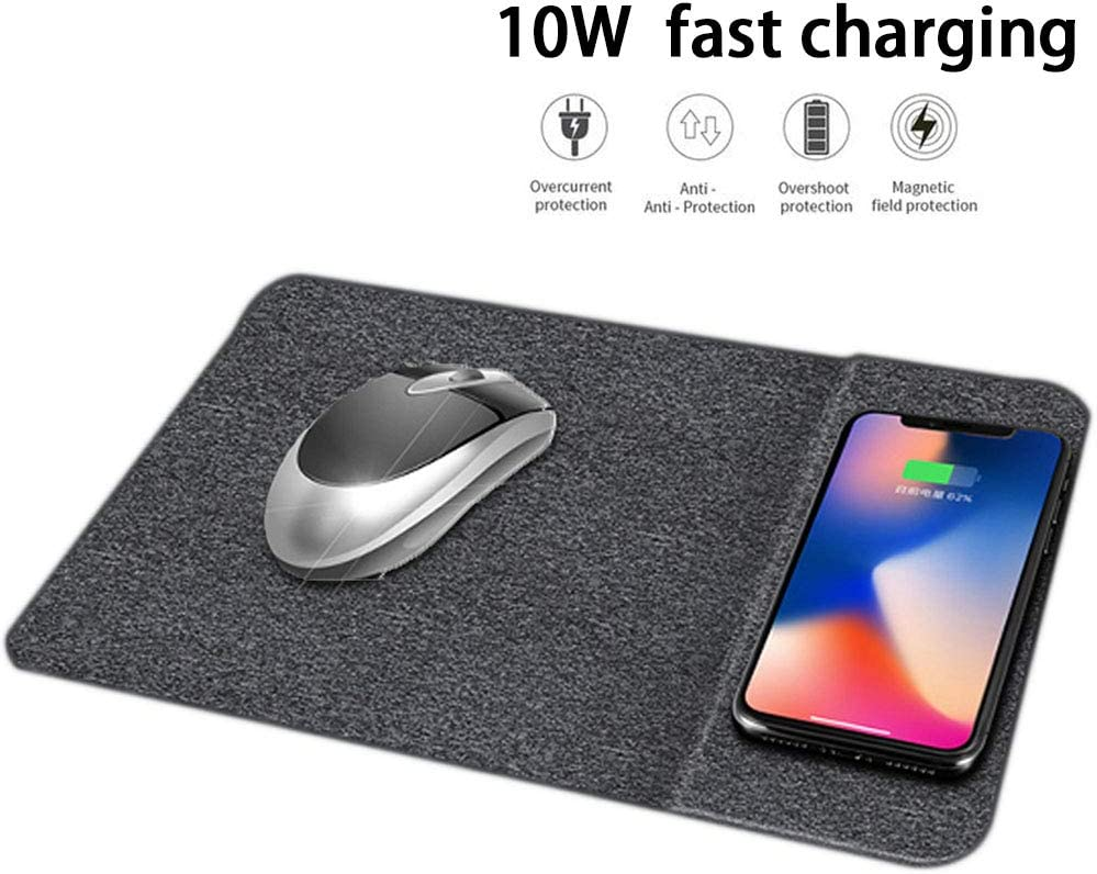 WLKJ Wireless Charging Mouse Pad,Qi 10W Mouse Pad Wireless Charger,Fast Wireless Charger,for Samsung Galaxy Plus Note 9//8 iPhone Xs Max//XR//X//XS,D